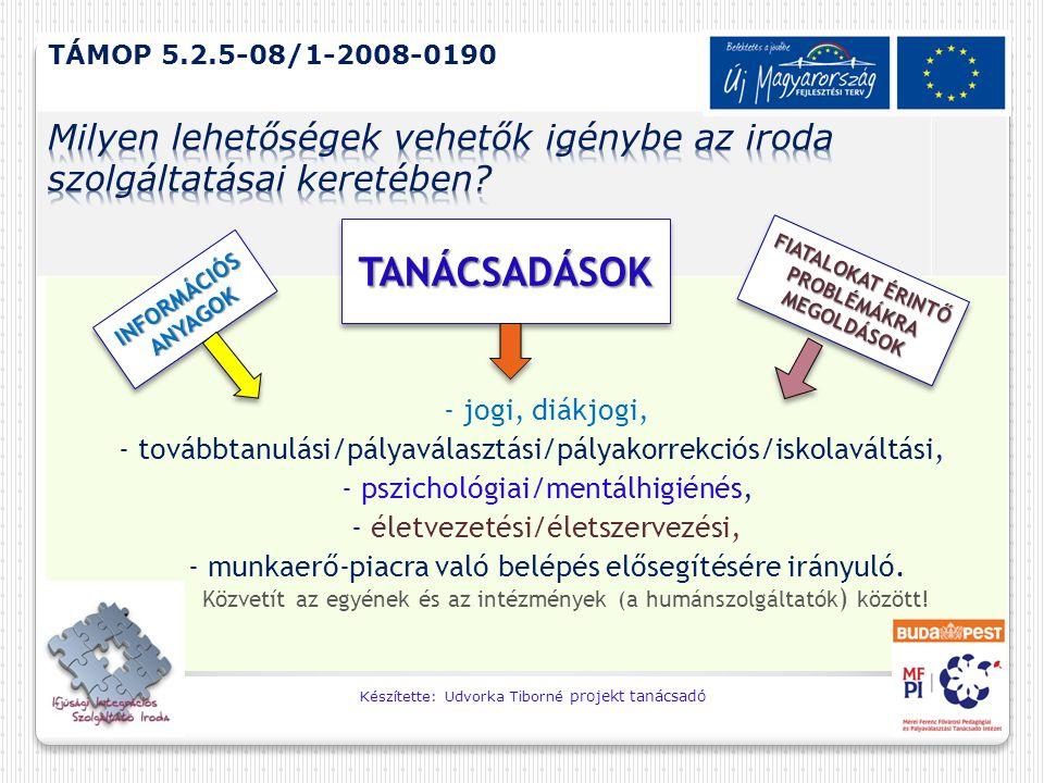 - jogi, diákjogi, - továbbtanulási/pályaválasztási/pályakorrekciós/iskolaváltási, - pszichológiai/mentálhigiénés, - életvezetési/életszervezési, - mun