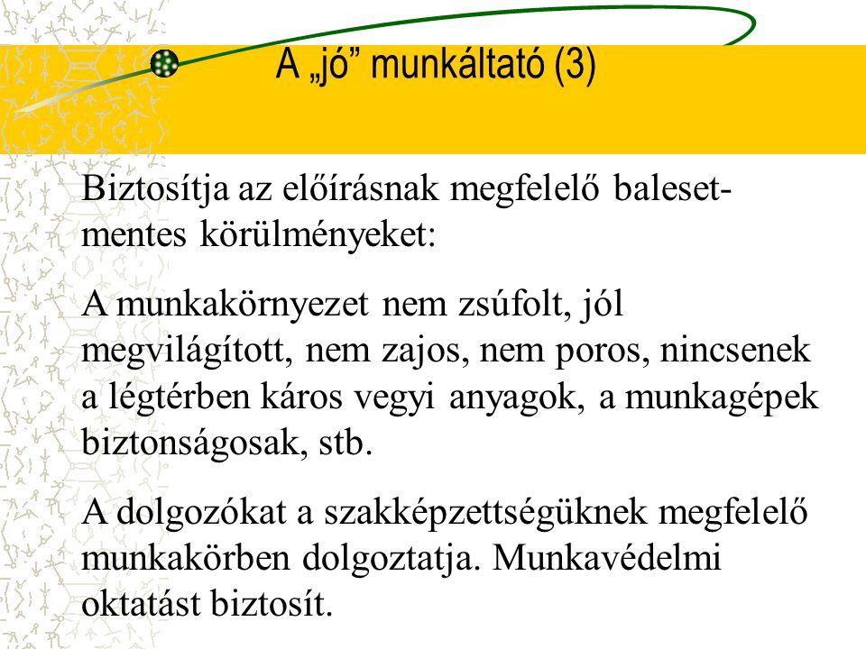 A munkáltató (2) Közvetett anyagi érdek A balesettel magára vonja a hatóságok figyelmét. Rontja a hírnevét.(MEDIA) Nyugaton a balesetmentesség javítja