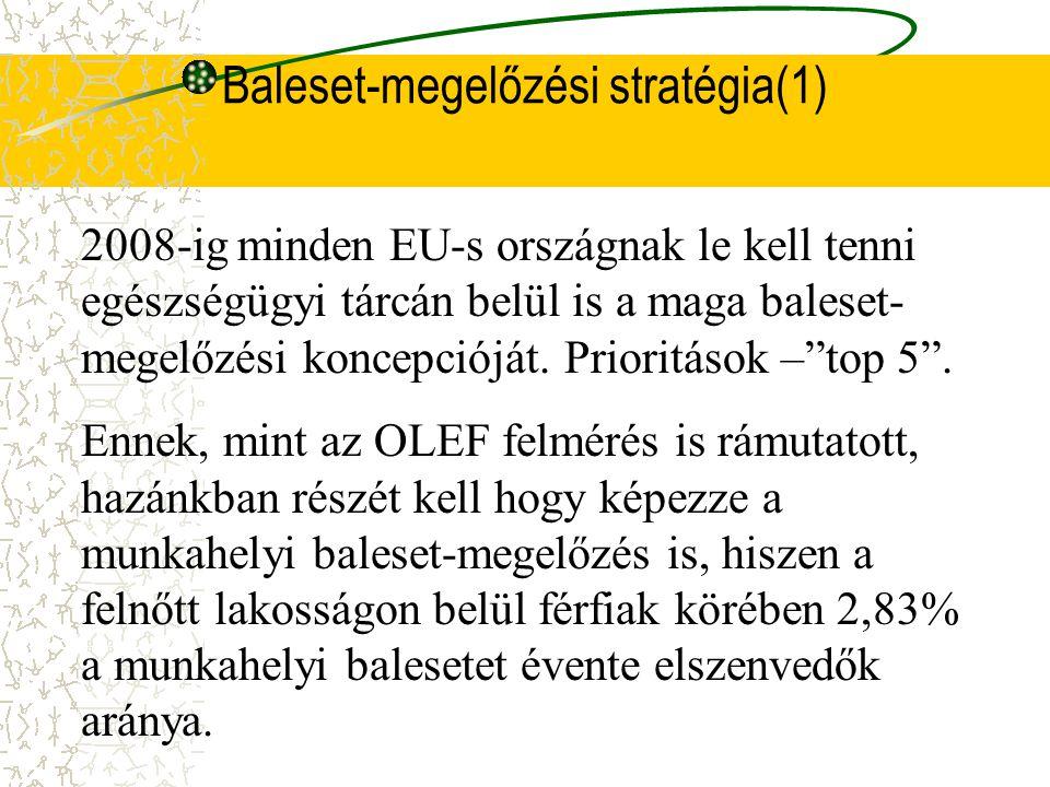 Egy külföldi példa Ausztriában 30%-kal csökkent 1993-tól 2001-ig munkabalesetek száma (évi 170 000-ről 115 000.) Az egyik nagy biztosító évente 50 mil