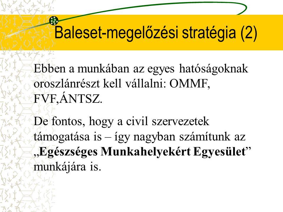Baleset-megelőzési stratégia(1) 2008-ig minden EU-s országnak le kell tenni egészségügyi tárcán belül is a maga baleset- megelőzési koncepcióját. Prio