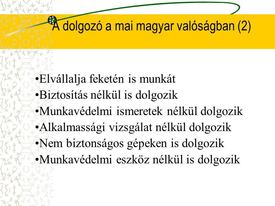 A dolgozó a mai magyar valóságban (2) •Elvállalja feketén is munkát •Biztosítás nélkül is dolgozik •Munkavédelmi ismeretek nélkül dolgozik •Alkalmassági vizsgálat nélkül dolgozik •Nem biztonságos gépeken is dolgozik •Munkavédelmi eszköz nélkül is dolgozik