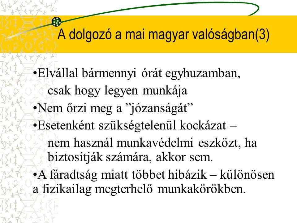 A dolgozó a mai magyar valóságban(3) •E•Elvállal bármennyi órát egyhuzamban, csak hogy legyen munkája •N•Nem őrzi meg a józanságát •E•Esetenként szükségtelenül kockázat – nem használ munkavédelmi eszközt, ha biztosítják számára, akkor sem.