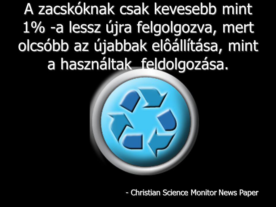 A mûanyag zacskók poliethylénbôl készülnek, melynek az alapja ásványolaj.