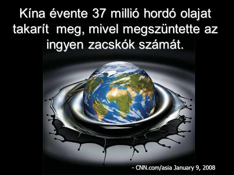 Kína évente 37 millió hordó olajat takarít meg, mivel megszüntette az ingyen zacskók számát.