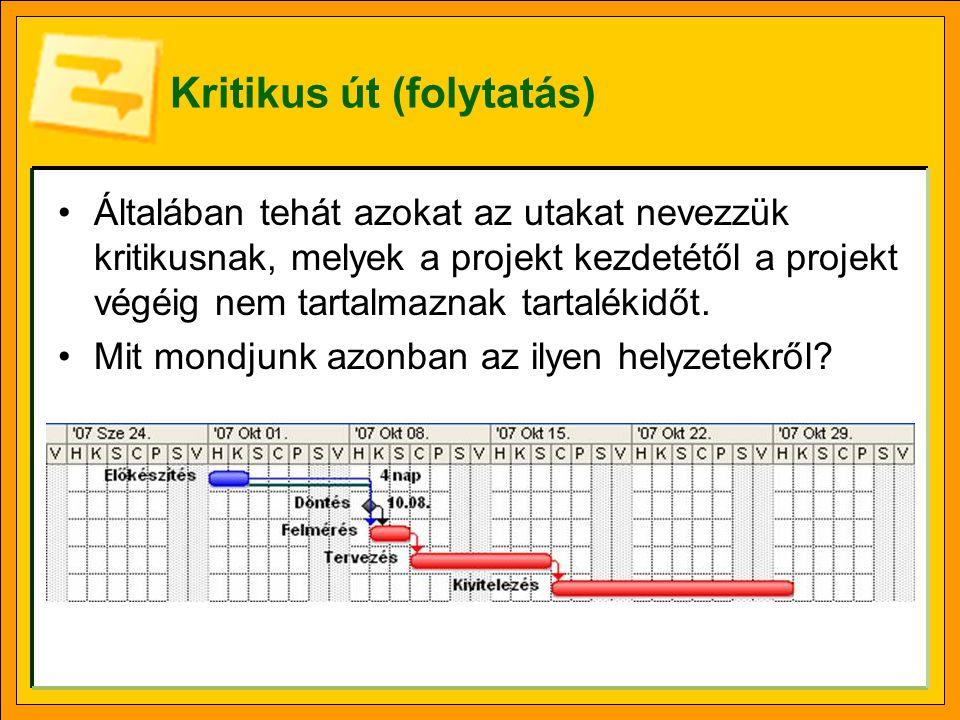 Kritikus út (folytatás) •Általában tehát azokat az utakat nevezzük kritikusnak, melyek a projekt kezdetétől a projekt végéig nem tartalmaznak tartalék
