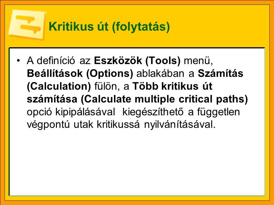 Kritikus út (folytatás) •A definíció az Eszközök (Tools) menü, Beállítások (Options) ablakában a Számítás (Calculation) fülön, a Több kritikus út szám