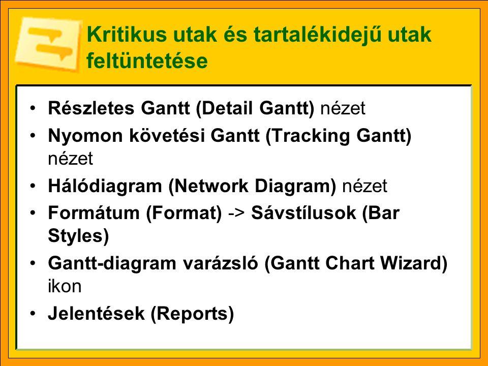 Kritikus utak és tartalékidejű utak feltüntetése •Részletes Gantt (Detail Gantt) nézet •Nyomon követési Gantt (Tracking Gantt) nézet •Hálódiagram (Net