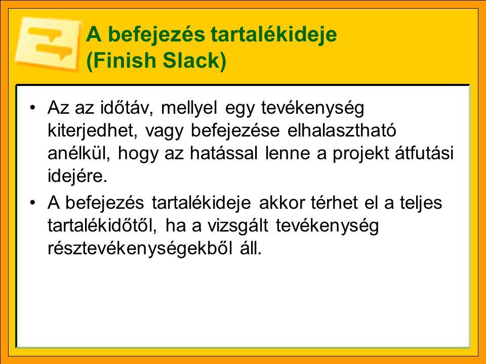 A befejezés tartalékideje (Finish Slack) •Az az időtáv, mellyel egy tevékenység kiterjedhet, vagy befejezése elhalasztható anélkül, hogy az hatással l