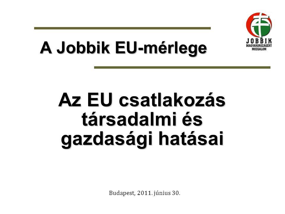 A csatlakozás -Magyarország rendszerváltozás utáni történelmének egyik legnagyobb jelentőségű eseménye az Európai Unióhoz történő csatlakozás (2004) -A csatlakozás mérlegéhez az odavezető utat is számba kell vennünk, mivel ez határozta meg az ország külpolitikai és külgazdasági mozgásirányát, már 1990-től -Az aktuális lépésekhez, a követendő stratégia kialakításához elengedhetetlen, hogy már most reális képet kaphassunk: mit nyertünk és mit vesztettünk