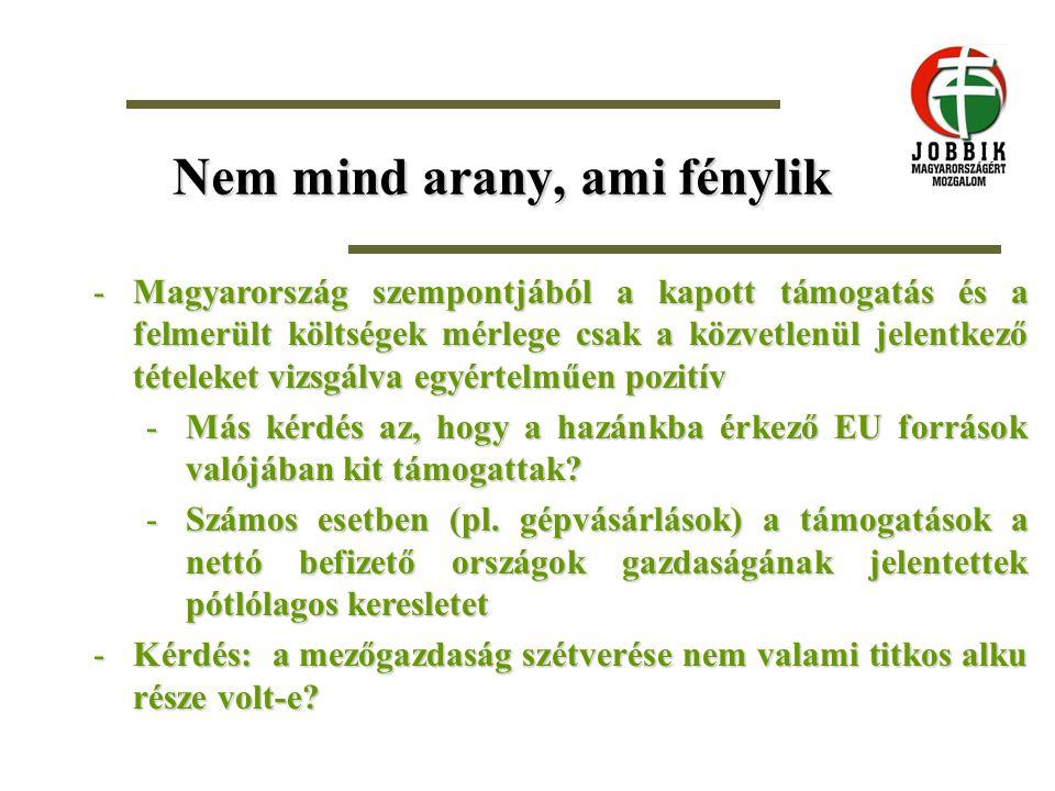 Nem mind arany, ami fénylik -Magyarország szempontjából a kapott támogatás és a felmerült költségek mérlege csak a közvetlenül jelentkező tételeket vizsgálva egyértelműen pozitív -Más kérdés az, hogy a hazánkba érkező EU források valójában kit támogattak.