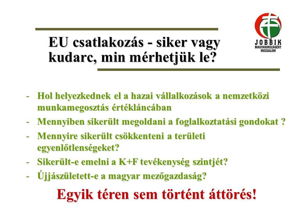 EU csatlakozás - siker vagy kudarc, min mérhetjük le? -Hol helyezkednek el a hazai vállalkozások a nemzetközi munkamegosztás értékláncában -Mennyiben