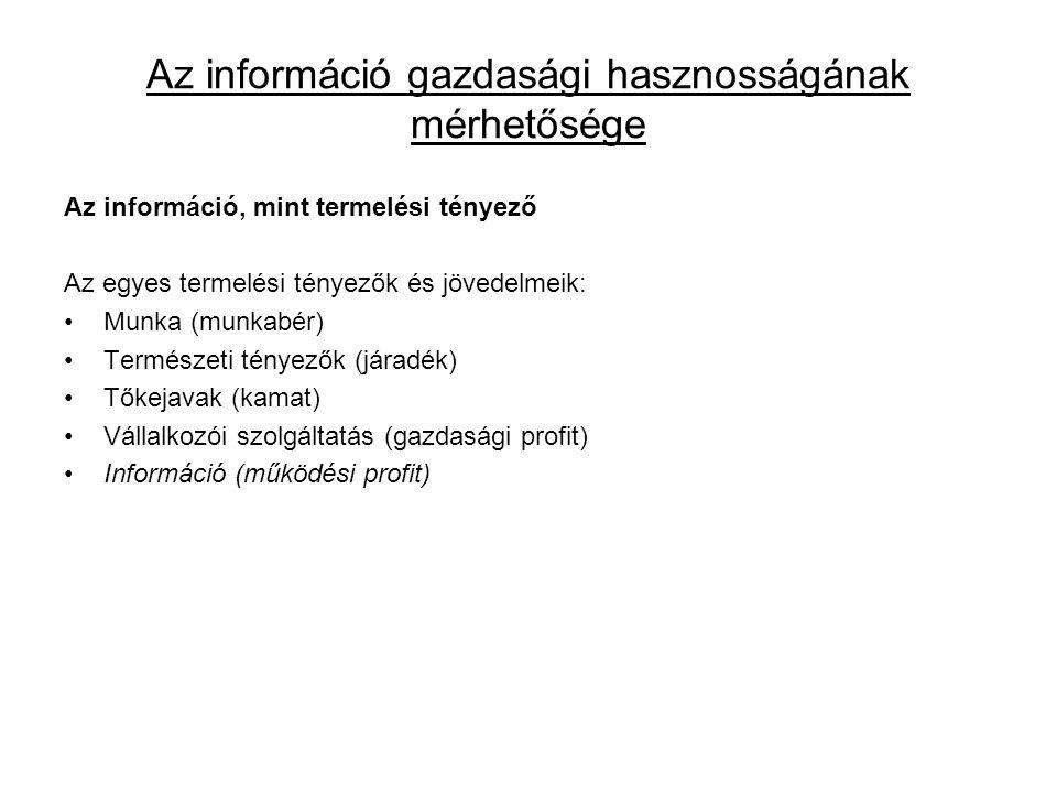Az információ gazdasági hasznosságának mérhetősége Az információ, mint termelési tényező Az egyes termelési tényezők és jövedelmeik: •Munka (munkabér)