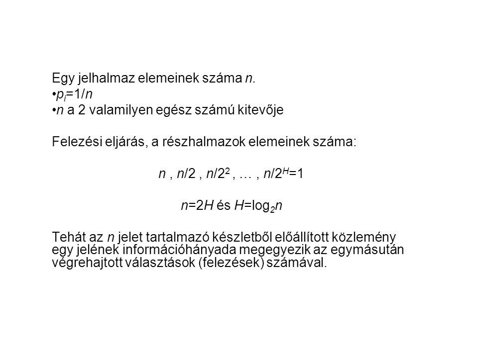 Egy jelhalmaz elemeinek száma n. •p i =1/n •n a 2 valamilyen egész számú kitevője Felezési eljárás, a részhalmazok elemeinek száma: n, n/2, n/2 2, …,