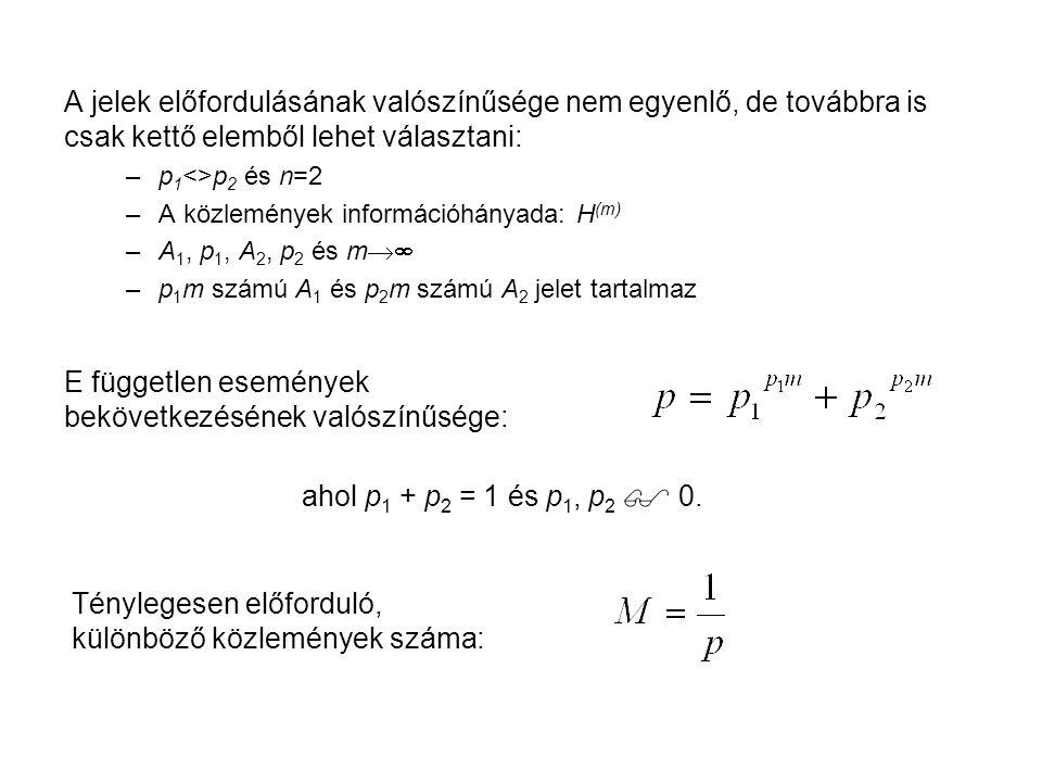 A jelek előfordulásának valószínűsége nem egyenlő, de továbbra is csak kettő elemből lehet választani: –p 1 <>p 2 és n=2 –A közlemények információhány