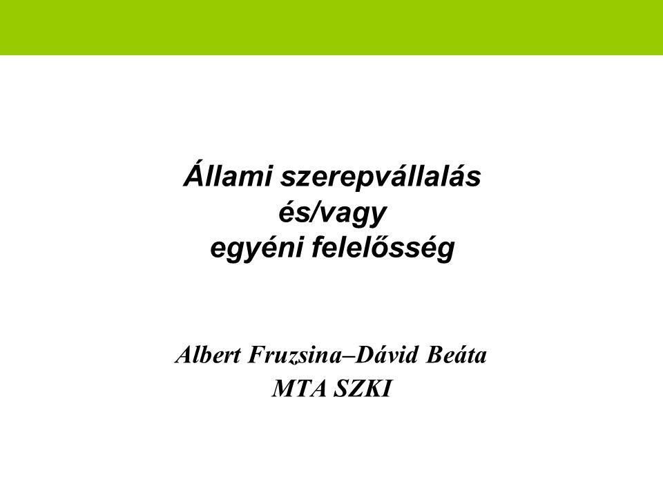 Állami szerepvállalás és/vagy egyéni felelősség Albert Fruzsina–Dávid Beáta MTA SZKI