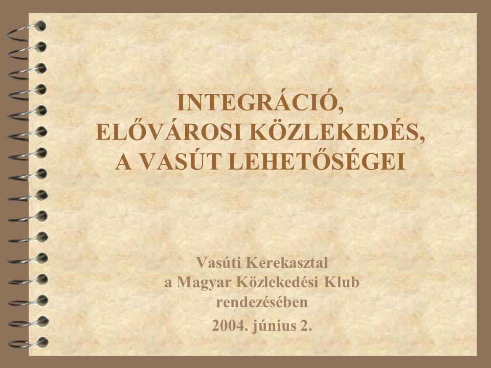 INTEGRÁCIÓ, ELŐVÁROSI KÖZLEKEDÉS, A VASÚT LEHETŐSÉGEI Vasúti Kerekasztal a Magyar Közlekedési Klub rendezésében 2004.