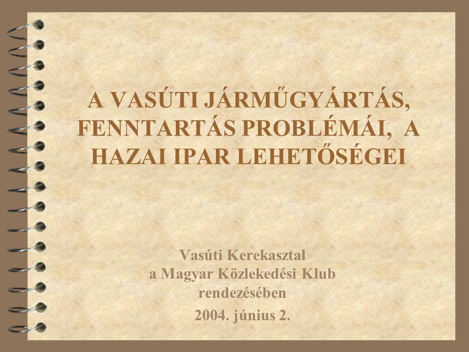A VASÚTI JÁRMŰGYÁRTÁS, FENNTARTÁS PROBLÉMÁI, A HAZAI IPAR LEHETŐSÉGEI Vasúti Kerekasztal a Magyar Közlekedési Klub rendezésében 2004.