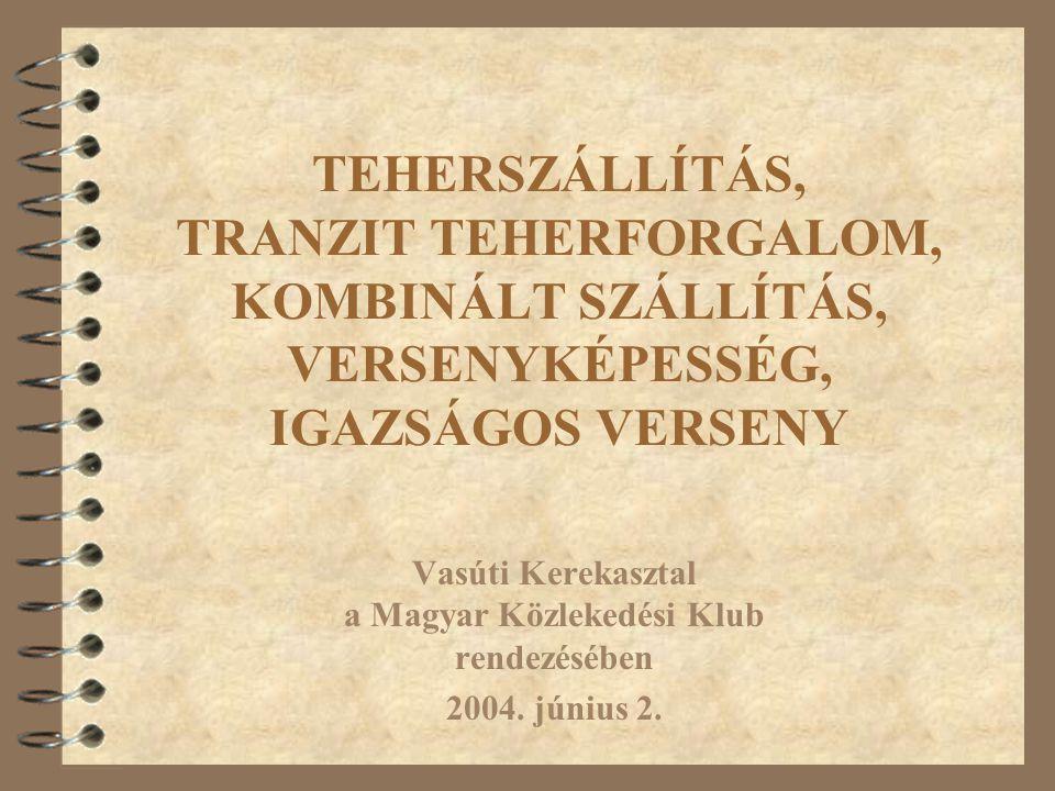 TEHERSZÁLLÍTÁS, TRANZIT TEHERFORGALOM, KOMBINÁLT SZÁLLÍTÁS, VERSENYKÉPESSÉG, IGAZSÁGOS VERSENY Vasúti Kerekasztal a Magyar Közlekedési Klub rendezésében 2004.