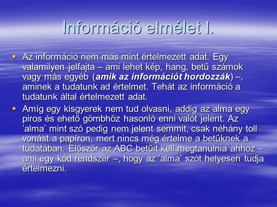 Információ elmélet I.  Az információ nem más mint értelmezett adat. Egy valamilyen jelfajta – ami lehet kép, hang, betű számok vagy más egyéb (amik a