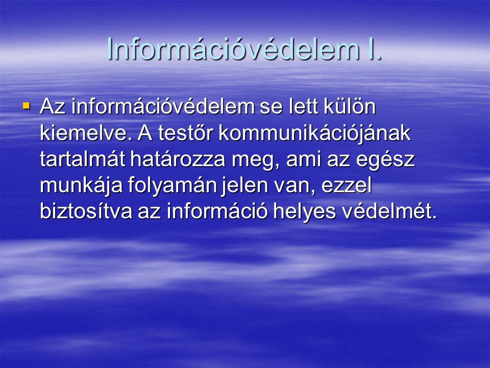 Információvédelem I.  Az információvédelem se lett külön kiemelve. A testőr kommunikációjának tartalmát határozza meg, ami az egész munkája folyamán