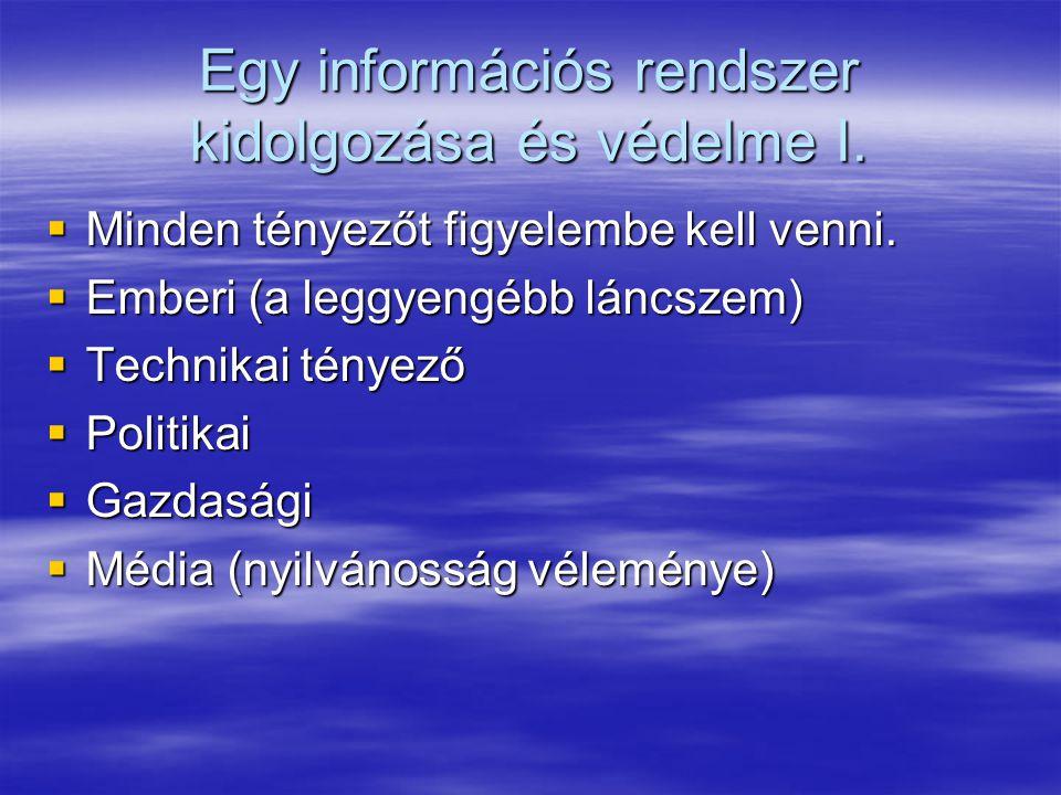 Egy információs rendszer kidolgozása és védelme I.  Minden tényezőt figyelembe kell venni.  Emberi (a leggyengébb láncszem)  Technikai tényező  Po