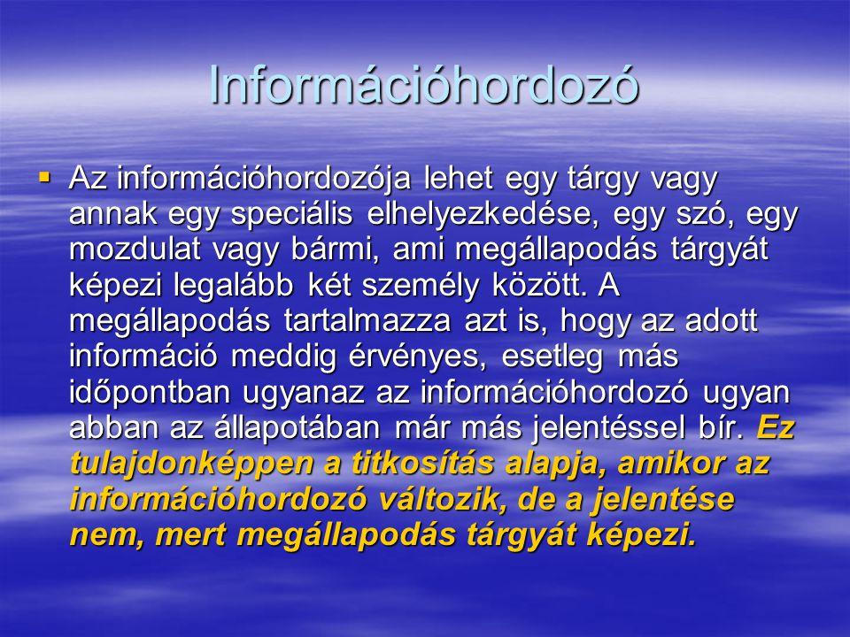 Információhordozó  Az információhordozója lehet egy tárgy vagy annak egy speciális elhelyezkedése, egy szó, egy mozdulat vagy bármi, ami megállapodás