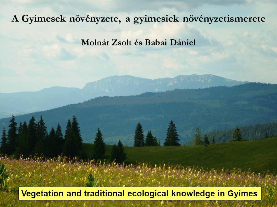A Gyimesek növényzete, a gyimesiek növényzetismerete Molnár Zsolt és Babai Dániel Vegetation and traditional ecological knowledge in Gyimes