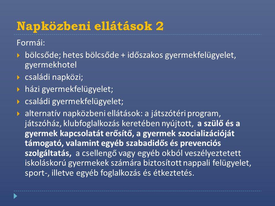 Napközbeni ellátások 2 Formái:  bölcsőde; hetes bölcsőde + időszakos gyermekfelügyelet, gyermekhotel  családi napközi;  házi gyermekfelügyelet;  c