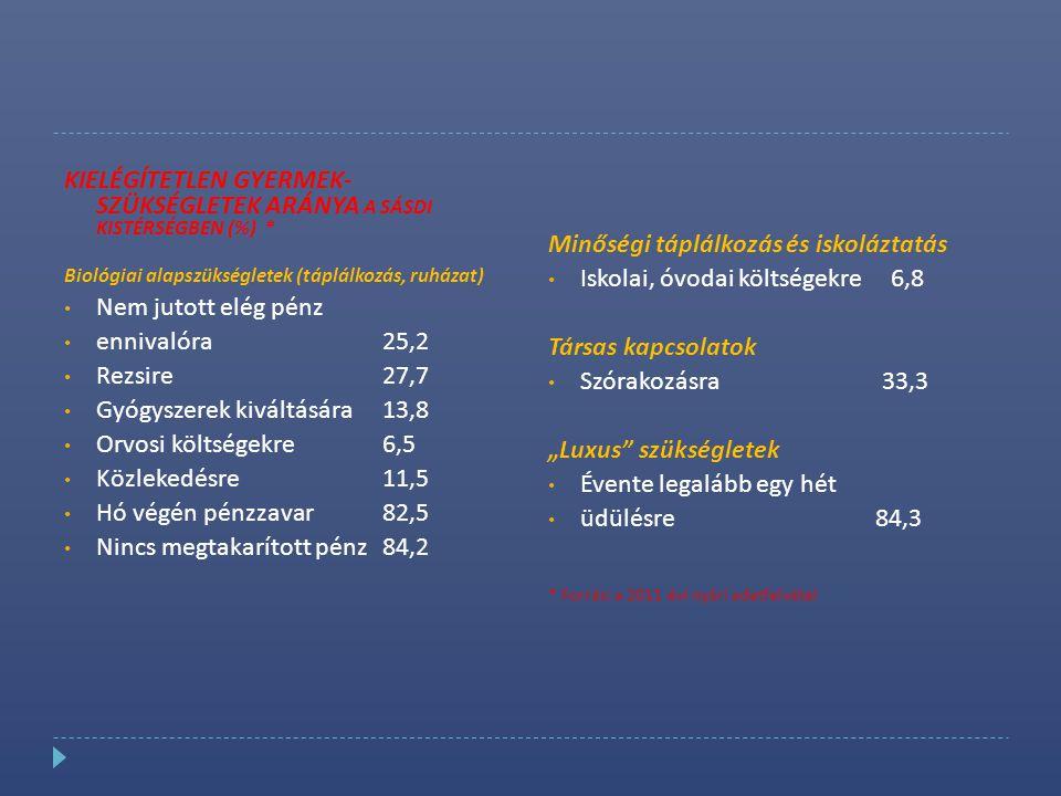 KIELÉGÍTETLEN GYERMEK- SZÜKSÉGLETEK ARÁNYA A SÁSDI KISTÉRSÉGBEN (%) * Biológiai alapszükségletek (táplálkozás, ruházat) • Nem jutott elég pénz • enniv