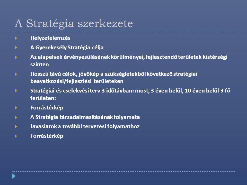 A Stratégia szerkezete  Helyzetelemzés  A Gyerekesély Stratégia célja  Az alapelvek érvényesülésének körülményei, fejlesztendő területek kistérségi