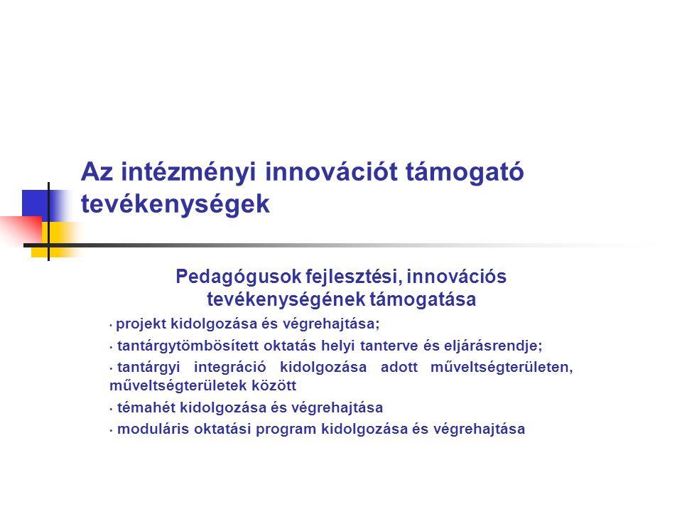 Az intézményi innovációt támogató tevékenységek Pedagógusok fejlesztési, innovációs tevékenységének támogatása • projekt kidolgozása és végrehajtása; • tantárgytömbösített oktatás helyi tanterve és eljárásrendje; • tantárgyi integráció kidolgozása adott műveltségterületen, műveltségterületek között • témahét kidolgozása és végrehajtása • moduláris oktatási program kidolgozása és végrehajtása