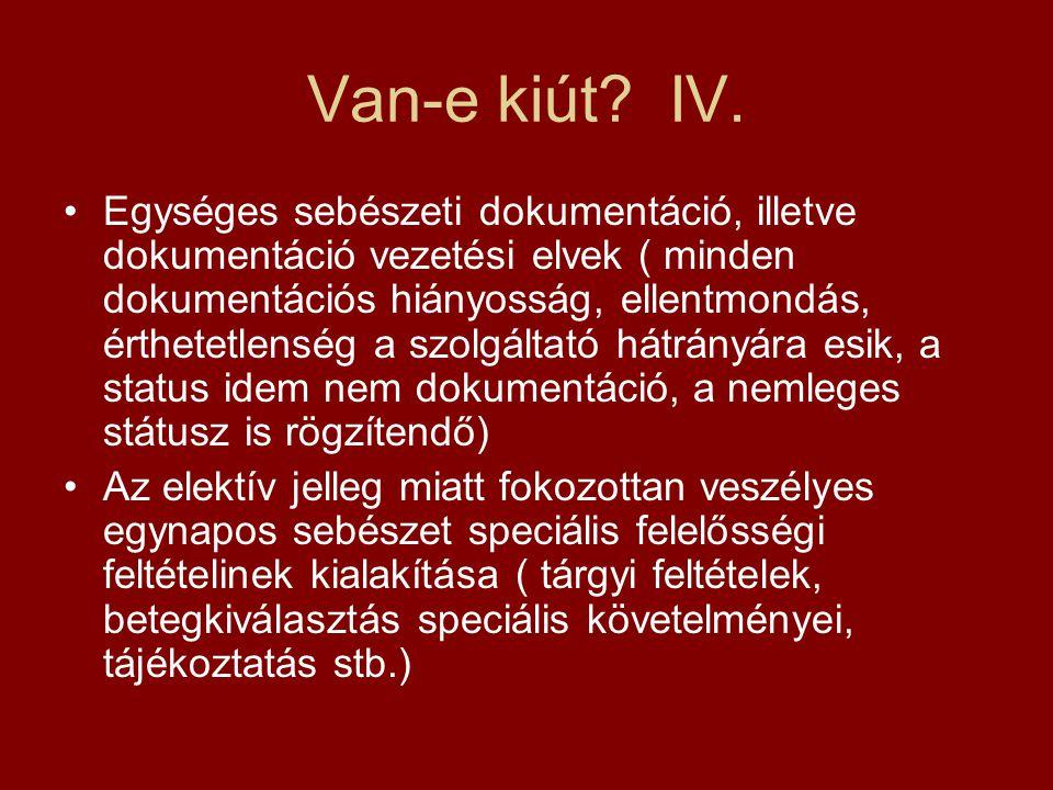 Van-e kiút? IV. •Egységes sebészeti dokumentáció, illetve dokumentáció vezetési elvek ( minden dokumentációs hiányosság, ellentmondás, érthetetlenség