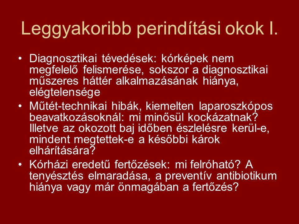 Leggyakoribb perindítási okok II •Thrombosis profilaxis, tüdőembólia megelőzése: mikor nem kizárt a profilaxis •Idegen test: az idegen test bennmaradásának ténye alapozza meg a felelősséget, szakmai protokoll ellentétes a bírói gyakorlattal •Műtét utáni tünetek nem megfelelő értékelése, késői reoperáció •Nem megfelelő beteg tájékoztatás