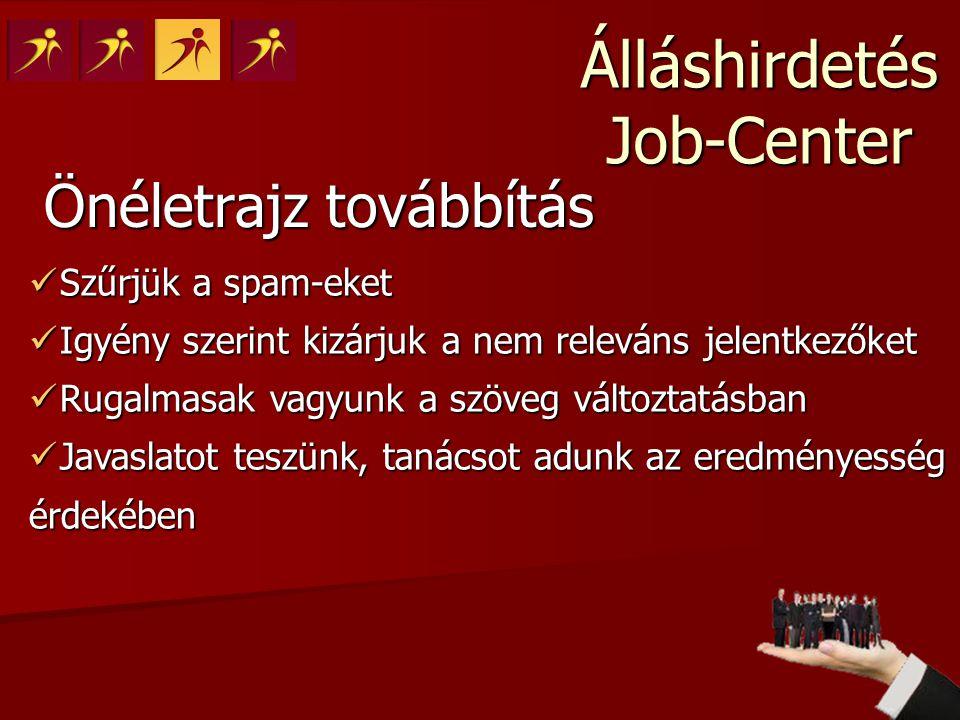 Álláshirdetés Job-Center Önéletrajz továbbítás  Szűrjük a spam-eket  Igyény szerint kizárjuk a nem releváns jelentkezőket  Rugalmasak vagyunk a szö