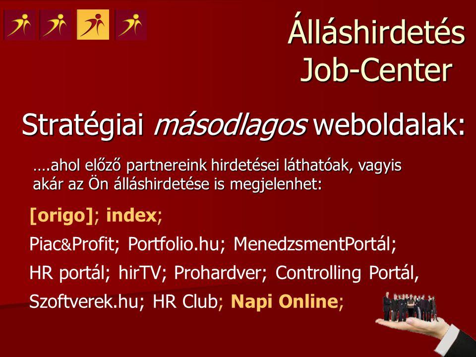 Álláshirdetés Job-Center Stratégiai másodlagos weboldalak: ….ahol előző partnereink hirdetései láthatóak, vagyis akár az Ön álláshirdetése is megjelen