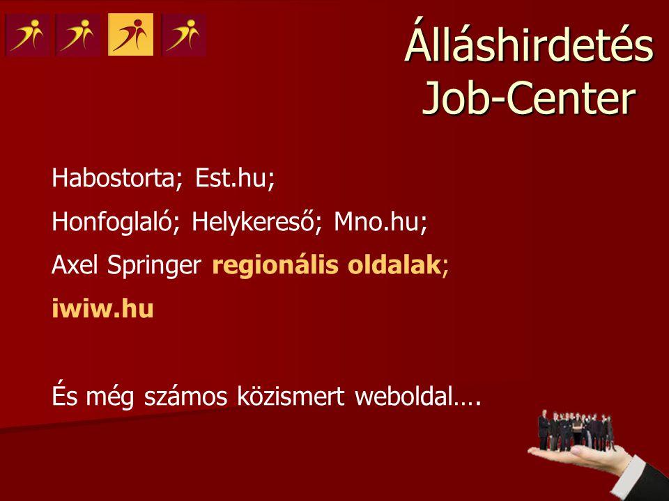 Álláshirdetés Job-Center Habostorta; Est.hu; Honfoglaló; Helykereső; Mno.hu; Axel Springer regionális oldalak; iwiw.hu És még számos közismert webolda