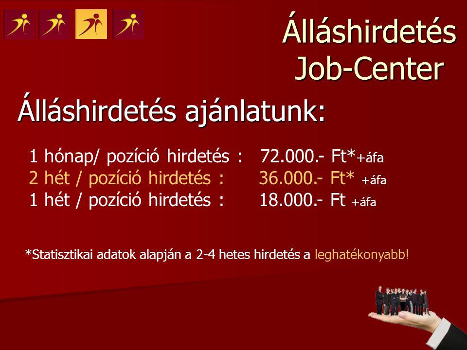 Álláshirdetés Job-Center Álláshirdetés ajánlatunk: 1 hónap/ pozíció hirdetés : 72.000.- Ft* +áfa 2 hét / pozíció hirdetés : 36.000.- Ft* +áfa 1 hét /