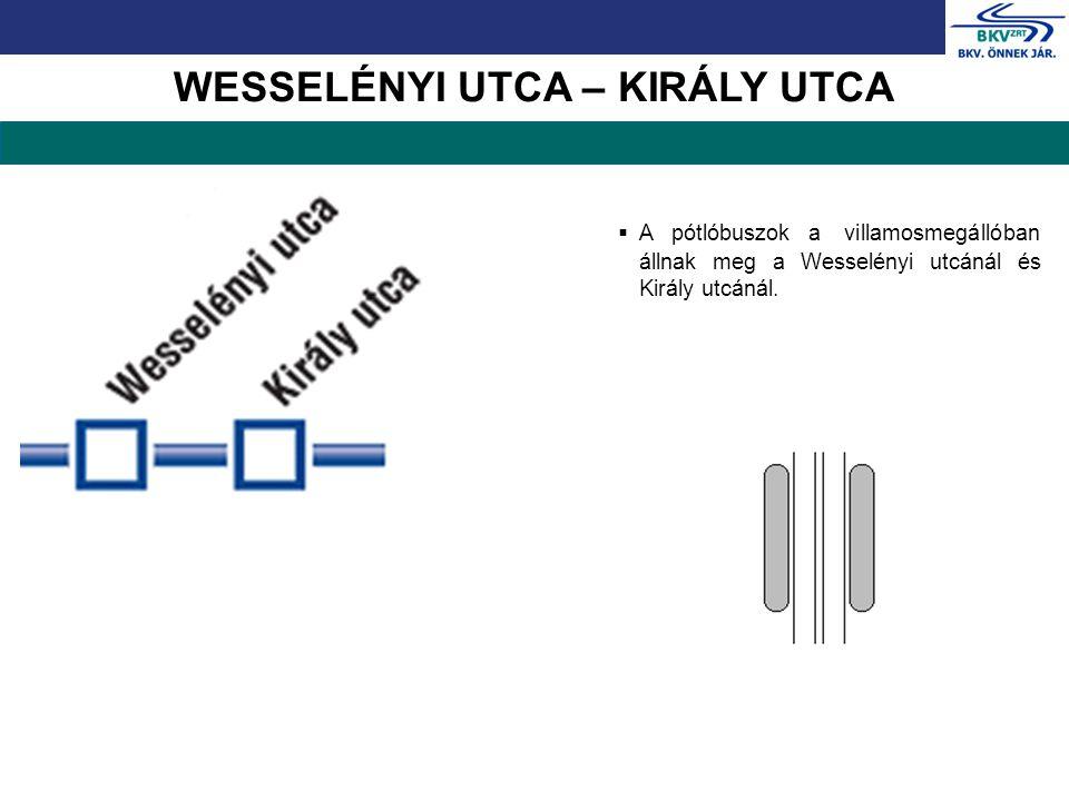 WESSELÉNYI UTCA – KIRÁLY UTCA  A pótlóbuszok a villamosmegállóban állnak meg a Wesselényi utcánál és Király utcánál.