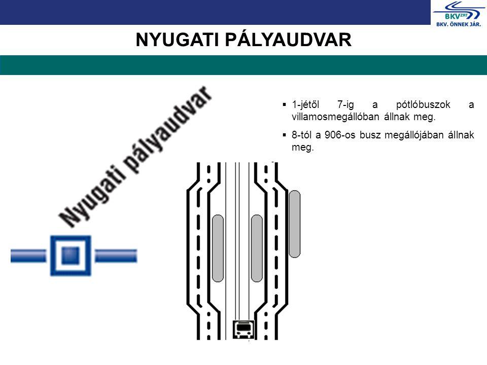 NYUGATI PÁLYAUDVAR  1-jétől 7-ig a pótlóbuszok a villamosmegállóban állnak meg.  8-tól a 906-os busz megállójában állnak meg.