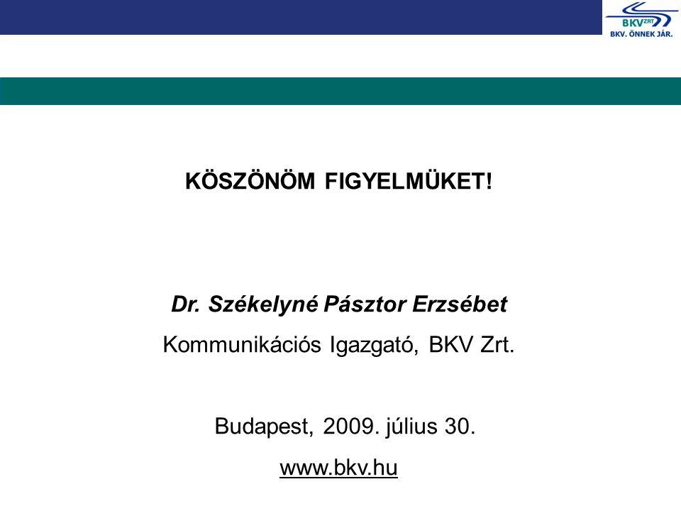 KÖSZÖNÖM FIGYELMÜKET! Dr. Székelyné Pásztor Erzsébet Kommunikációs Igazgató, BKV Zrt. Budapest, 2009. július 30. www.bkv.hu