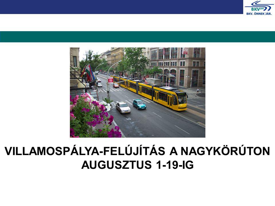 VILLAMOSPÁLYA-FELÚJÍTÁS A NAGYKÖRÚTON AUGUSZTUS 1-19-IG