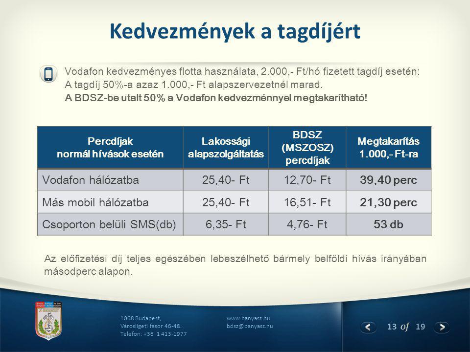 13 of 19 www.banyasz.hu bdsz@banyasz.hu 1068 Budapest, Városligeti fasor 46-48. Telefon: +36 1 413-1977 Kedvezmények a tagdíjért Vodafon kedvezményes