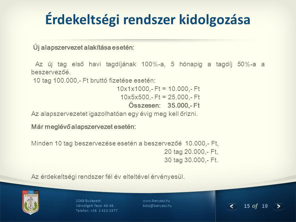 15 of 19 www.banyasz.hu bdsz@banyasz.hu 1068 Budapest, Városligeti fasor 46-48. Telefon: +36 1 413-1977 Érdekeltségi rendszer kidolgozása Új alapszerv