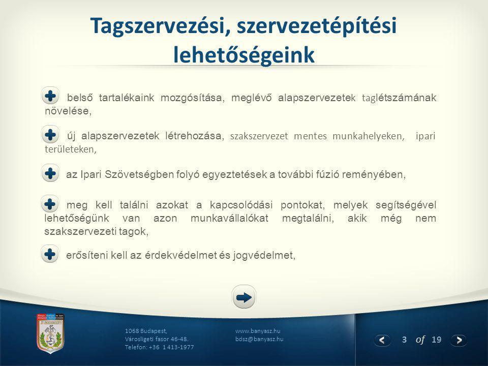 3 of 19 www.banyasz.hu bdsz@banyasz.hu 1068 Budapest, Városligeti fasor 46-48. Telefon: +36 1 413-1977 Tagszervezési, szervezetépítési lehetőségeink b