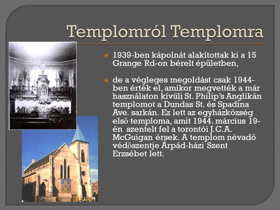  1939-ben kápolnát alakítottak ki a 15 Grange Rd-on bérelt épületben,  de a végleges megoldást csak 1944- ben érték el, amikor megvették a már haszn