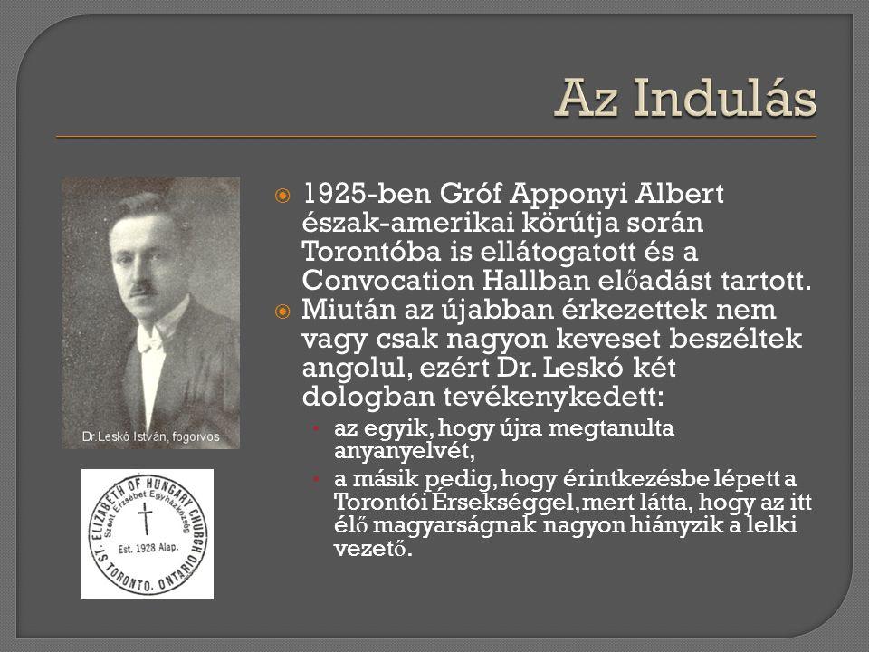  1925-ben Gróf Apponyi Albert észak-amerikai körútja során Torontóba is ellátogatott és a Convocation Hallban el ő adást tartott.  Miután az újabban