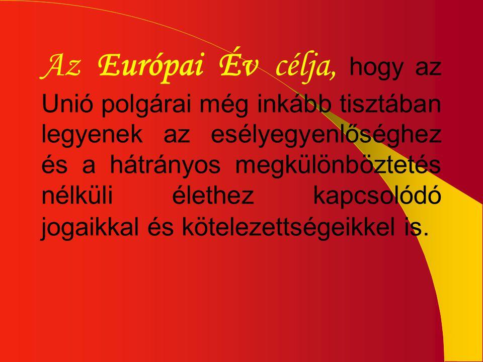 Az Európai Év célja, hogy az Unió polgárai még inkább tisztában legyenek az esélyegyenlőséghez és a hátrányos megkülönböztetés nélküli élethez kapcsol