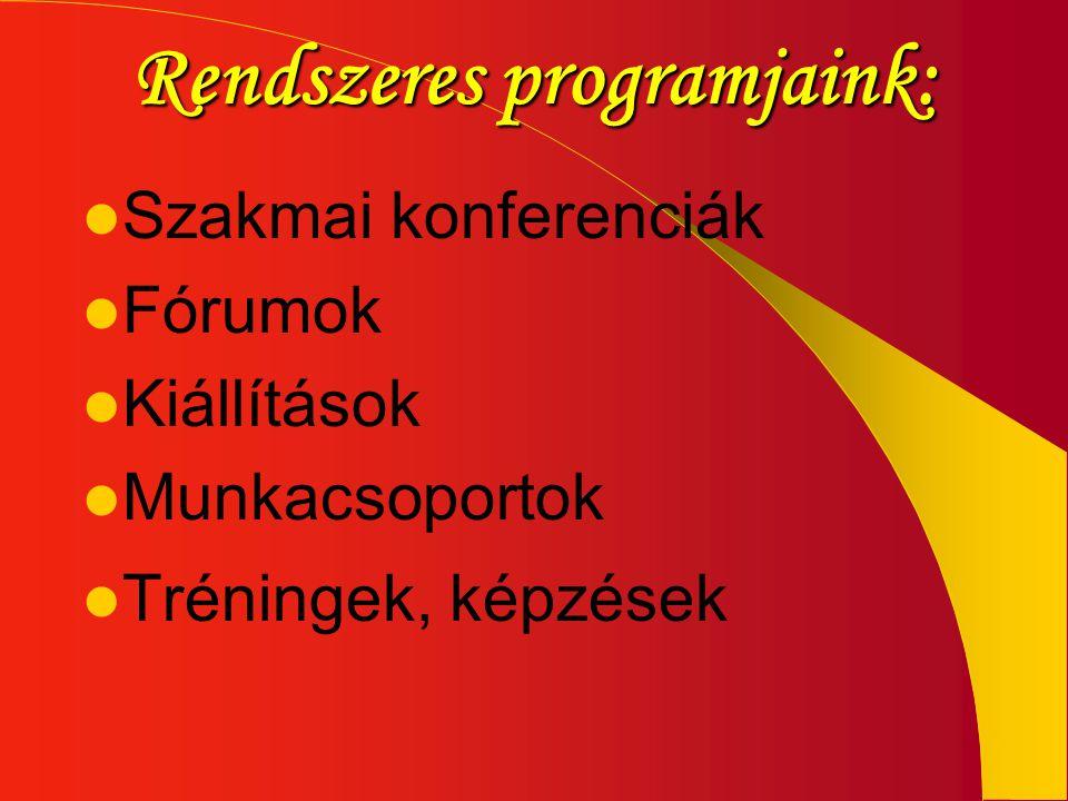 Rendszeres programjaink:  Szakmai konferenciák  Fórumok  Kiállítások  Munkacsoportok  Tréningek, képzések