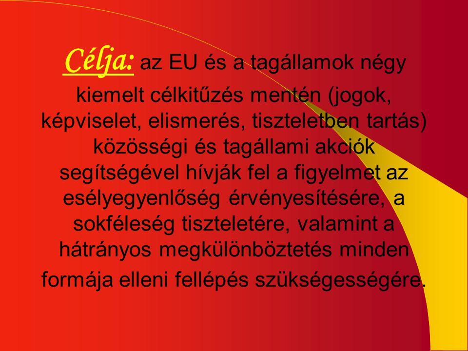 Célja: az EU és a tagállamok négy kiemelt célkitűzés mentén (jogok, képviselet, elismerés, tiszteletben tartás) közösségi és tagállami akciók segítség