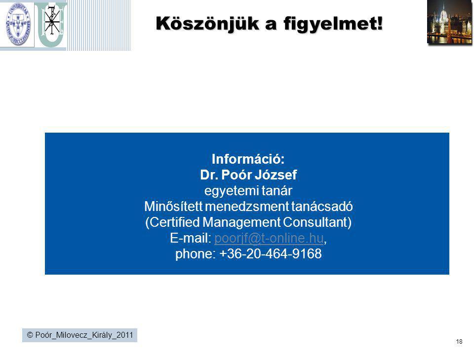 18 © Poór_Milovecz_Király_2011 Köszönjük a figyelmet! Întrebări şi răspunsuri Információ: Dr. Poór József egyetemi tanár Minősített menedzsment tanács